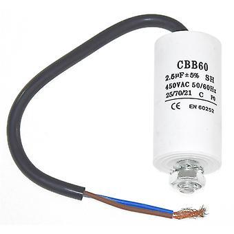 Universal 2.5UF kondensator med 22 cm kabel stik