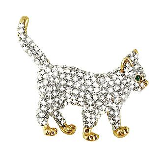 Eternal Collection Casper The Cat Austrian Crystal Diamante Gold Tone Cat Brooch