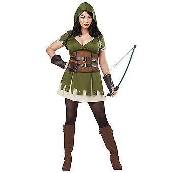 Lady Robin des bois Sherwood Medieval Archer voleurs guerrier Womens Costume Plus