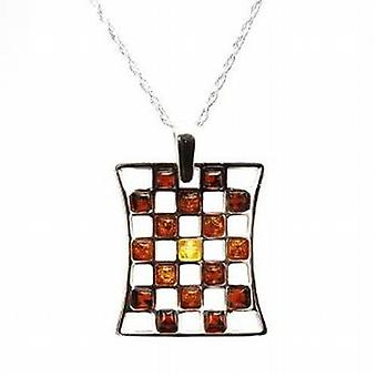 Toc Sterling Silver Amber Chess Board Pendant on 18 Inch Chain