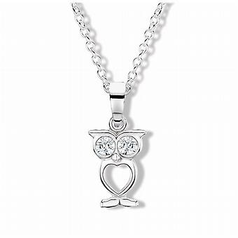 Jo For Girls Sterling Silver Crystal Owl Pendant on 14