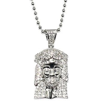 Silver Plated CZ Micro Jesus Piece Pendant 1 inch with 30 inch ball chain