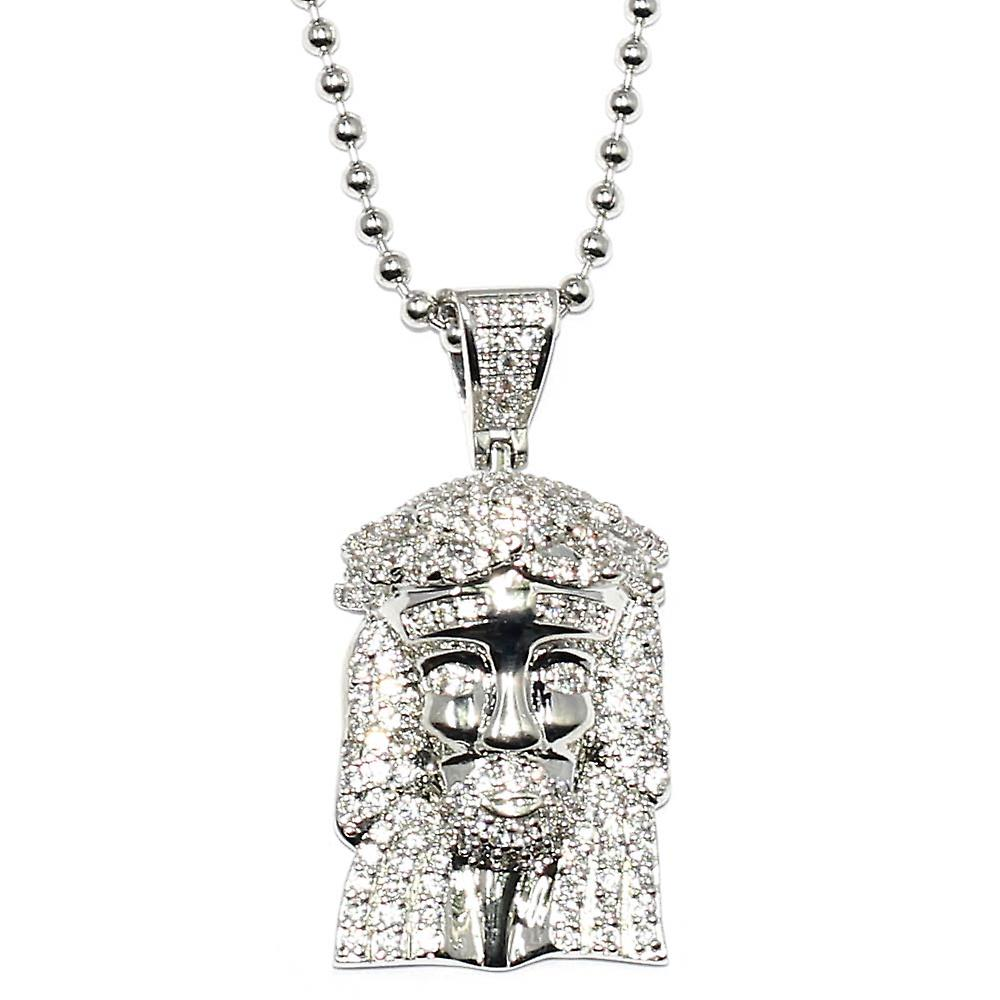 Silver Plated CZ Micro Jesus Piece Pendant with 30 inch ball chain