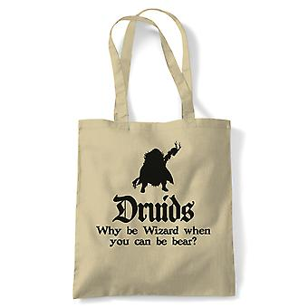 Druids Tote | Crimson Throne Polyhedral D20 Fifth 5th Edition | Reusable Shopping Cotton Canvas Long Handled Natural Shopper Eco-Friendly Fashion