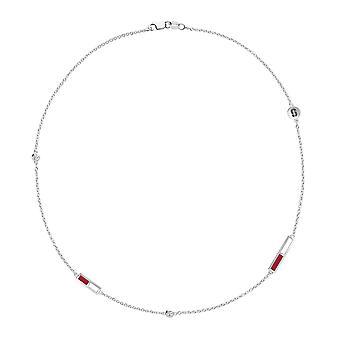 Stanford University kardinal logo graveret diamant 5-Stations halskæde i rødt og hvidt