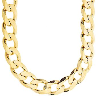 Sterling 925 silver tank chain - CURB 15mm gold