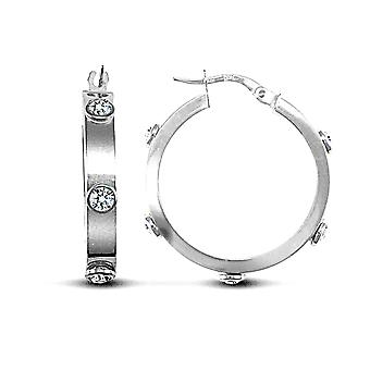 Jewelco London Ladies 9ct White Gold White Round Brilliant Cubic Zirconia Square Tube 4mm Hoop Earrings 24mm