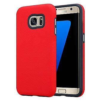 Cadorabo Hülle für Samsung Galaxy S7 EDGE Case Cover - Outdoor Handyhülle mit extra Grip Anti Rutsch Oberfläche im Triangle Design aus Silikon und Kunststoff - Schutzhülle Hybrid Hardcase Back Case