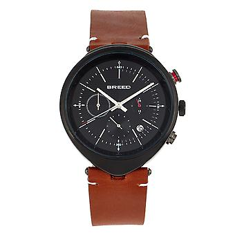 Breed Tempest Chronograph Leather-Band Watch w/Date - Brown/Black