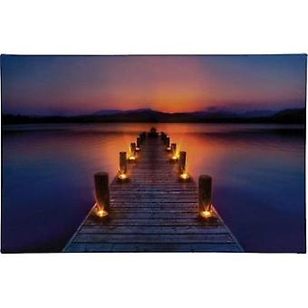 LED picture Jetty at sunrise LED Heitronic Morgenrot 34046 Multi-coloured