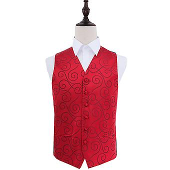Scroll Burgundy Wedding Waistcoat
