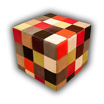 Rugs -Patchwork Leather Pouf - Multi Solid Colours