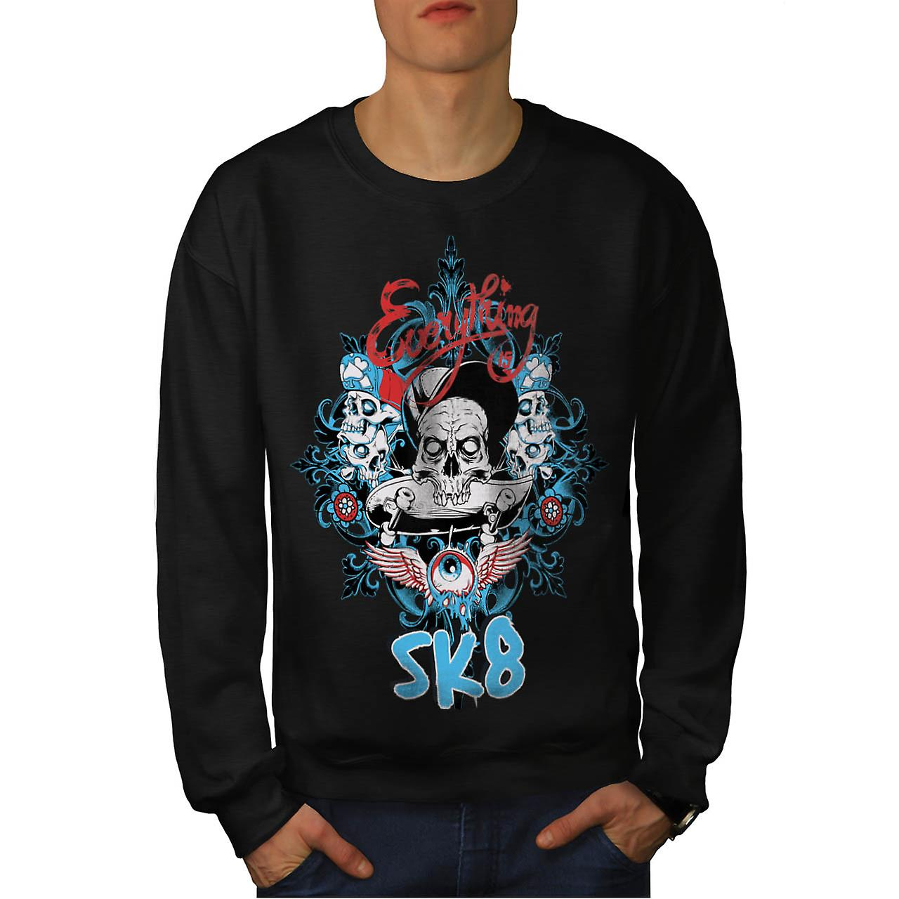 Skate Board Gangster Skull Ride Men Black Sweatshirt | Wellcoda