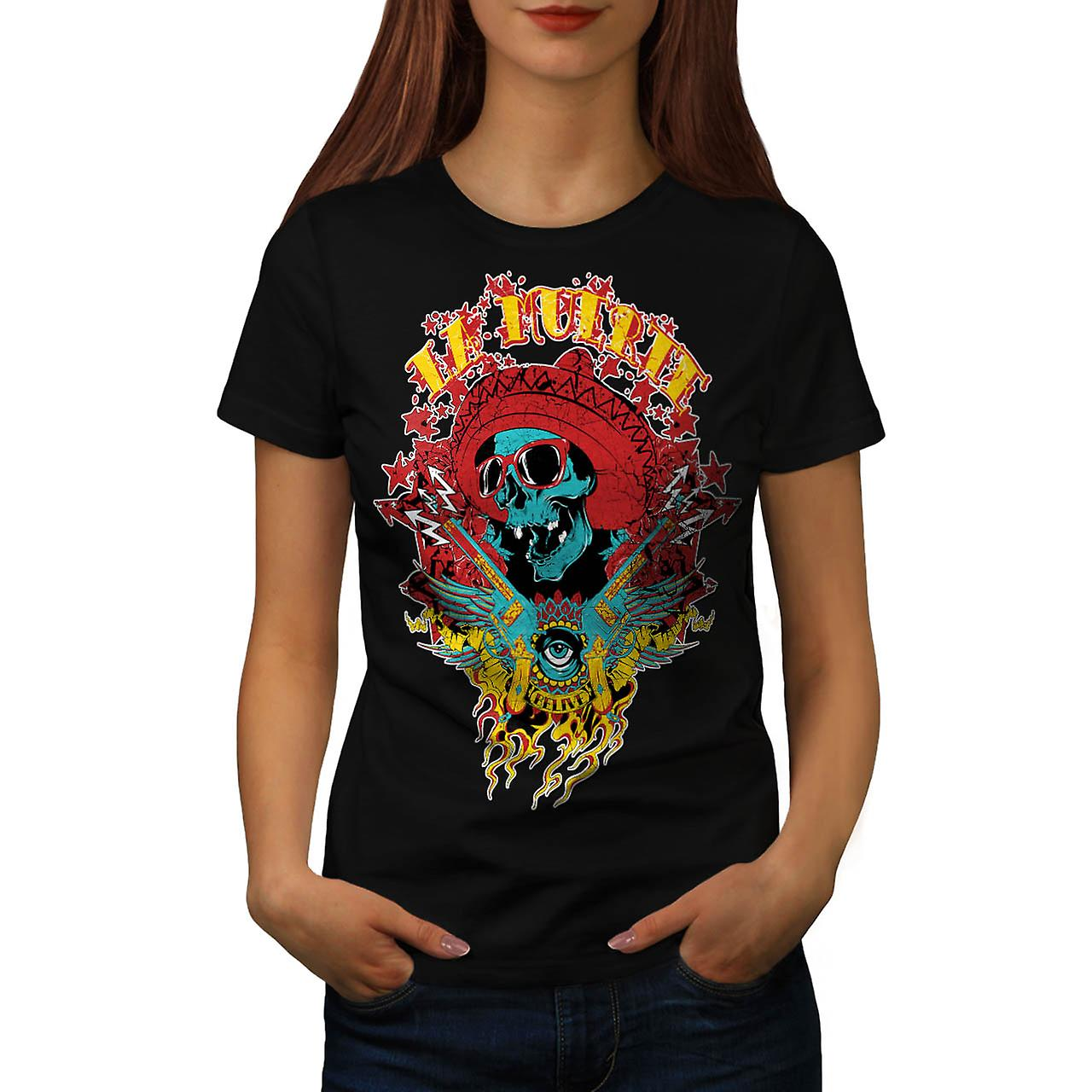 Mexico Skull Gun Life Shade Head Women Black T-shirt | Wellcoda