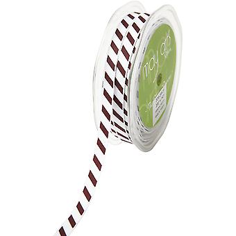 Grosgrain Ribbon W/White Diagonal Stripes 3/8
