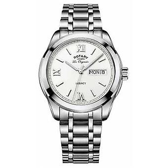 Roterende roterende mannen Legacy dag datum Stainless Steel Bracelet GB90173/01 Watch