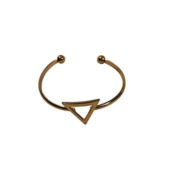 Gold-colored minimalist chic statement cuff bracelet with triangle