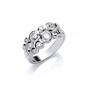 Cavendish French Silver and CZ Midi Bubble Ring