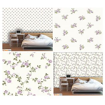 Fine Decor Heritage Floral Bouquet Rose Flower Heavyweight Cream Lilac Wallpaper
