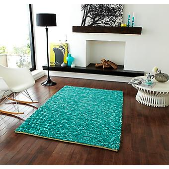 Luxury Teal Wool Rug Bobbles