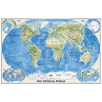 The Physical World poster size tubed : Wall Maps World (National Geographic Reference Map) (Map) by National Geographic Maps