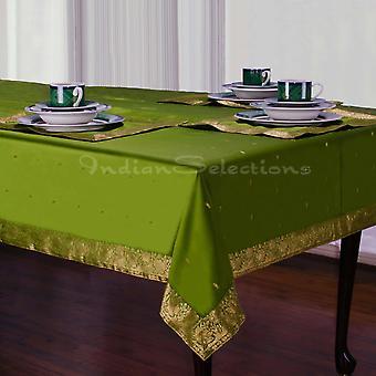 Forest Green - handgemachte Sari Tischdecke (Indien)