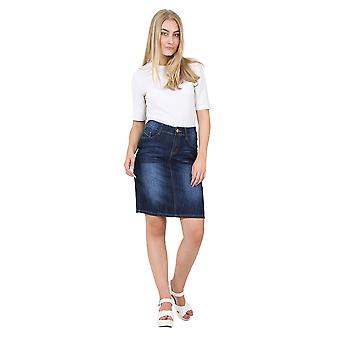 Knee-length Darkwash Denim Skirt Denim Midi Skirt with stretch