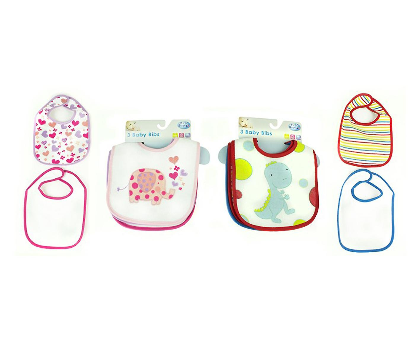 Cotton Baby Bibs Pack of 3 Boys Girls Toddler Feeding Time Machine Washable