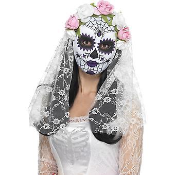 死亡新娘眼睛面具半面具墨西哥万圣节与面纱的一天