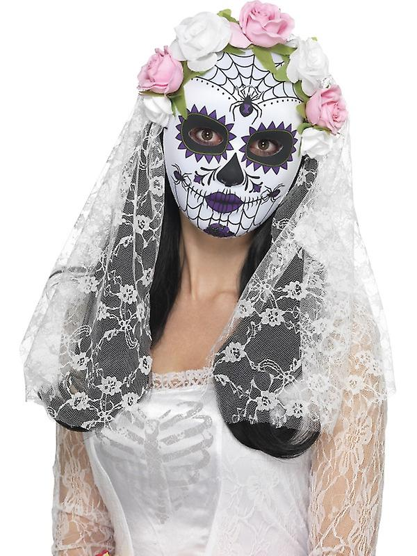 Day of the dead bride eyes mask half mask Mexico Halloween with veil