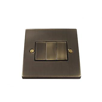 Causeway 3 Gang Ingot Light Switch, Antique Brass