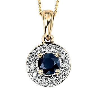 9 ct gull blå safir og Diamond halskjede