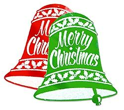 Glittered Christmas Bell Signs