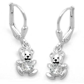 Bärchenohrringe earrings bear Teddy White cubic zirconia Brisur 925 sterling silver