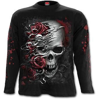 Spiraal-schedels n Roses-mannen t-shirt met lange mouwen-zwart