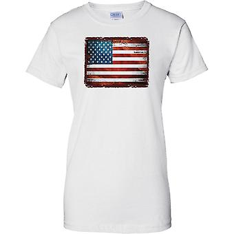 USA Grunge Grunge Effect Flag - Stars and Stripes - Ladies T Shirt