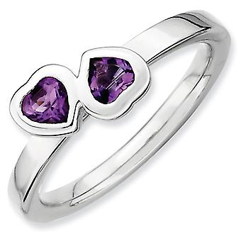 Sterling Silver Stackable Expressions Amethyst Double Heart Ring - Ring Size: 5 to 10