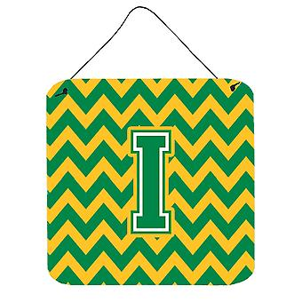Letter I Chevron Green and Gold Wall or Door Hanging Prints