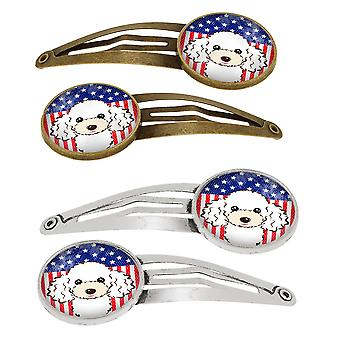 American Flag and White Poodle Set of 4 Barrettes Hair Clips