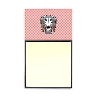 Checkerboard Pink Saluki Refiillable Sticky Note Holder or Postit Note Dispenser