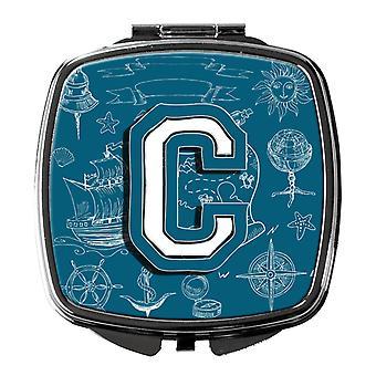 Letter C Sea Doodles Initial Alphabet Compact Mirror