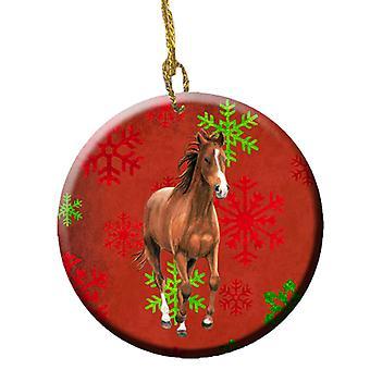 Pferd rot Schneeflocken Urlaub Weihnachten Keramik Ornament