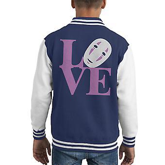 Spirited Away No Face Love Kid's Varsity Jacket