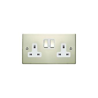Hamilton Litestat Hartland Pearl Oyster 2g 13A DP Switched Socket PO/WH