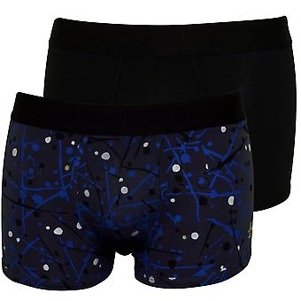 Original Penguin 2-Pack Paint Splat Boxer Briefs, Blue/Black