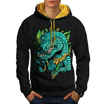 Cool Dinosaur Men Black (Gold Hood)Contrast Hoodie | Wellcoda