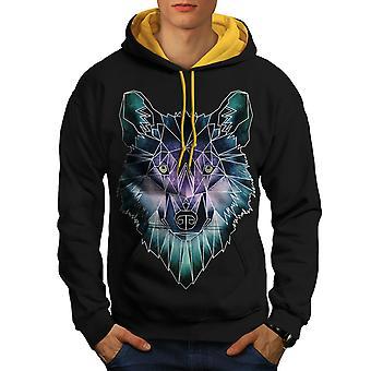 Psychodelic Wolf Men Black (Gold Hood)Contrast Hoodie | Wellcoda