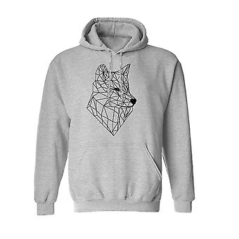 Outline Wolf Vector Graphic Design Men's Sports Grey Hoodie