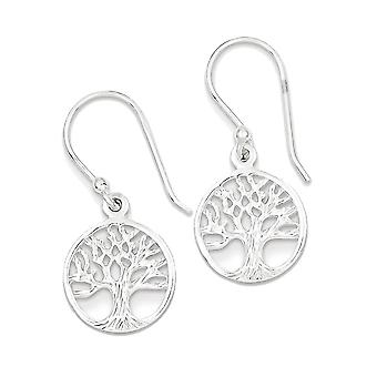 925 Sterling Silver Shiny Tree of Life Dangle Earrings