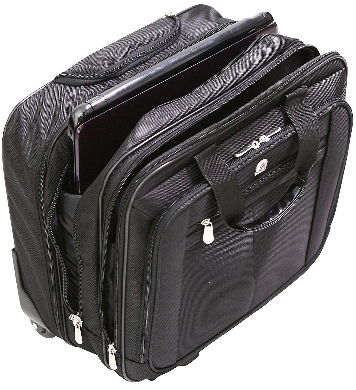 Executive Laptop Roller Bag Wheeled Pilot Case Briefcase Overnight & 15